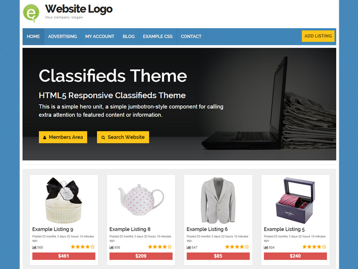 Responsive Classifieds Theme for WordPress