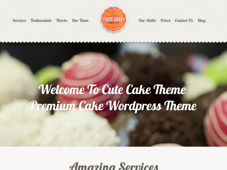Cute Cake - Premium One Page Theme
